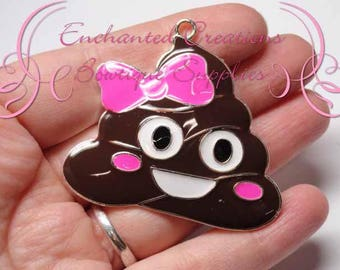"2"" Brown Poop Emoji with Pink Bow Charm, Chunky Pendant, Bookmark, KeyChain, Bookmark, Zipper Pull, Planner Charm, Purse Charm"