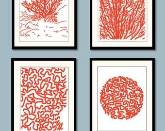 Red Coral Art Prints, Blue Coral Art, Coastal Wall Decor - Beachhouse Prints,  Nautical