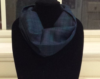 Blue and Teal Plaid Infinity Scarf
