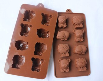 Cake Mold Chocolate Mould 8-Animal Lion Bear Flexible Silicone Mold For Handmade Soap Candle Candy Chocolate Cake Fimo Resin Craft