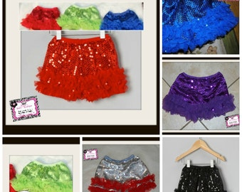 FREE SHIPPING Limited Time! Baby, Toddler & Big Girl Sequin Petti Shorts w/ Chiffon Ruffles Black, Red, Teal, Pink, Royal Blue, Lime, Silver