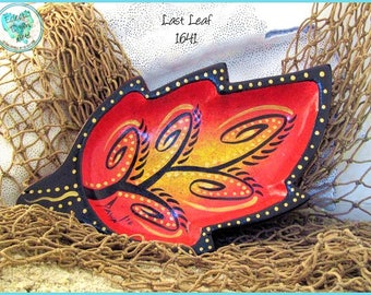 "Autumn Leaf Trinket Tray, Handpainted Wood, OOAK Decor in *red, yellow, metallic gold, black* ""Last Leaf"" #1641"