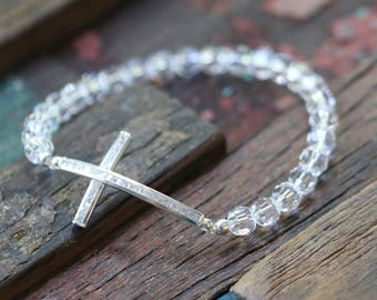 Sterling Silver CZ Sideway Cross and Swarovski Crystal Stretch Bracelet
