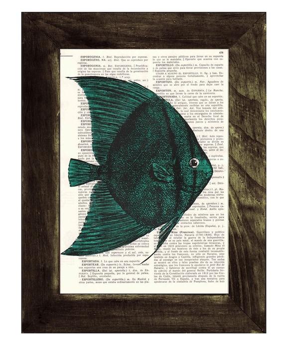 Vintage Book Print Dictionary or Encyclopedia Page Print- Book print Sea Bat Fish Print on Vintage Bookart art SEA020