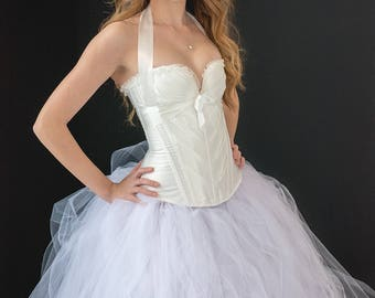 White Wedding Dress  - Tulle Dress - Full Skirt - Gown - Bridesmaid - Bridesmaid skirt - Tulle Skirt - White Dress - Tutu Dress - Tulle Gown