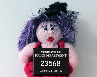 """Lotta Rosie hand knitted & crocheted burlesque art doll collectible. 9"""""""