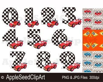 Birthday Race Cars Digital Clip art, Numbers Digital Clip Art,Birthday Party DIgital Clip Art, Instant Download