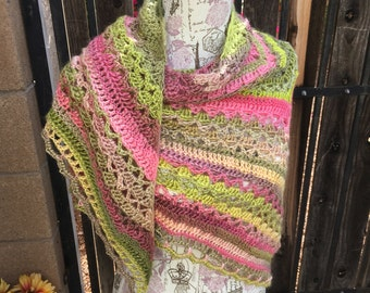 Wrapped in Warmth Shawl, Comfort Shawl, Spring Shawl, Triangle Shawl, Ready to Ship