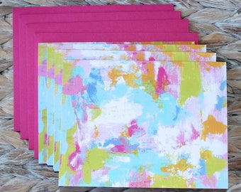 Abstract Art Tropical Color Note Card Set Linen Finish Gift Idea