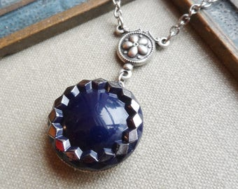 Navy with Silver Trim, Vintage German Glass Button, Necklace, Timeless Trinkets