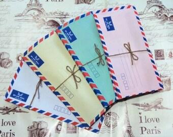 "Set of 25 airmail envelopes - 9.25"" x 4.25"""