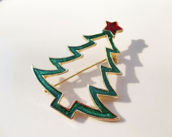 Christmas AAI Tree Enamel Painted Brooch Pin Vintage xmas jewelry