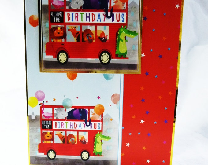 Big Red Bus, Animals on A Bus, Birthday Bus, Coloured Balloons, Birthday Card, Children's Card, Boy or Girl, Add your Age Number,