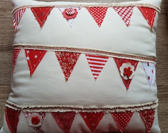 Red & Cream Decorative Bunting Cushion