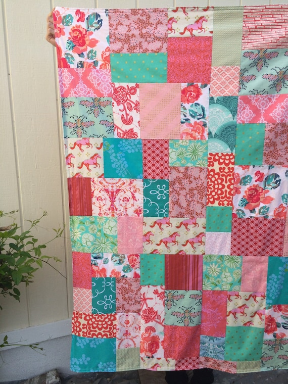 Mustang & Flowers Patchwork and Minky Blanket Ready to Ship