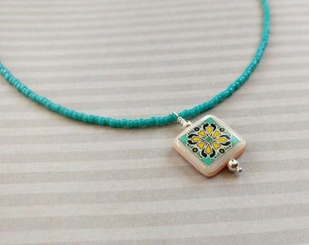 Catalina Tile Necklace, Turquoise & Pink on Sterling Silver, Spanish, Mexican, Catalina Pottery, Shell Necklace Wanderluster