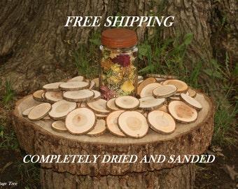 Rustic Wood Disc Tree Slices 125 Cherry Tree Cookies DRIED-Seasoned Wood Blanks- Woodland Weddings- Name Tags Wedding Decor 2-3 inch Dia