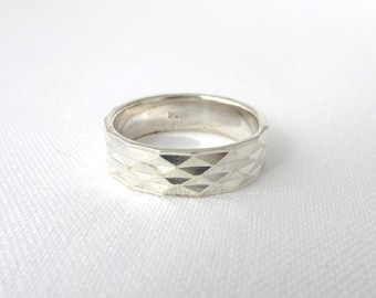 Large faceted ring Silver 925 T 55-56 diamond ring