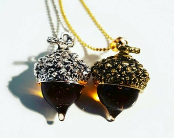 Glass amber acorn necklaces