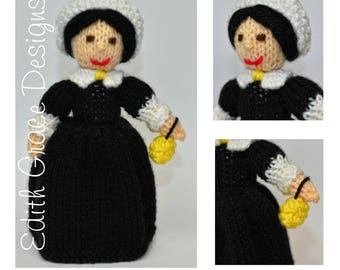 Florence Nightingale Toy Knitting Pattern, Nurse Costume, Nurse Gift, Doll Knitting Pattern, Knit Doll, Victorian Dress, Rag Doll Pattern