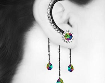 Rainbow Swarovski Crystal Steampunk Ear Wrap, No Piercing, Electra Swarovski, Cartilage Jewelry, Statement Jewelry, Clock Gears, v8