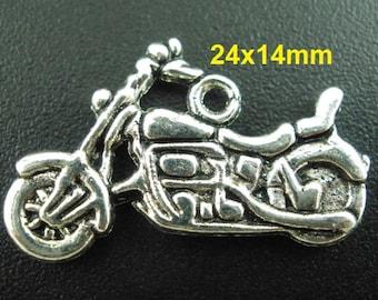 10pcs. Antique Silver Motorcycle Charms Pendants - 24x14mm
