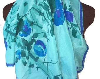 Gorgeous Turquoise Deep Blue SCARF with Violet Border and Watercolor Floral Design