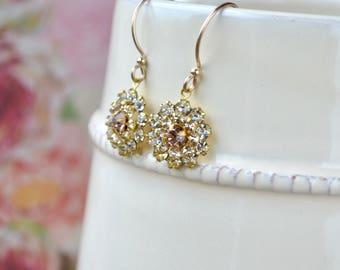 Sparkly crystal flower earrings - Vintage rhinestone jewellery