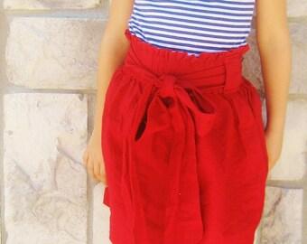 Girls Big Bow Red Skirt