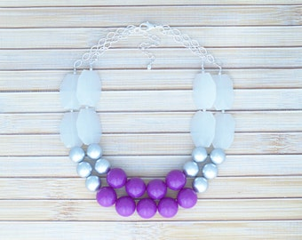 Bridal Bib Statement Necklace, Trendy Faux Crystal Silver Bead Statement Piece Necklace, Chunky Stunning Bright Purple Jewelry Necklace