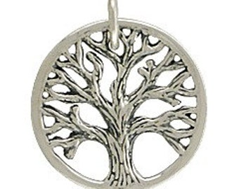 Sterling Silver Textured Tree of Life Charm Small