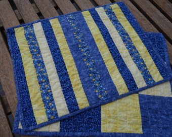Blue and yellow cotton placemats - reversible