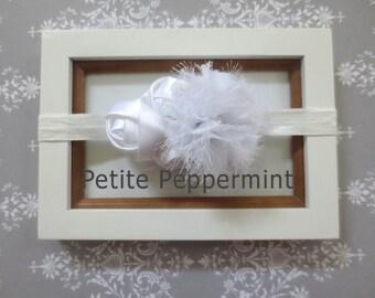 White Baby headband, baby girl headband, newborn headband, toddler headband - White Flower Headband