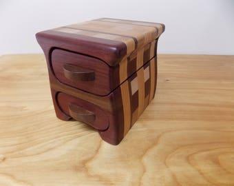 Small Bandsaw Jewelry Box, Trinket Box, Key Box made from Purple Heart, Walnut, Cherry,  Maple and Oak Inlay 2 Drawers