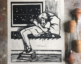 The Reader - Black and White Edition - Linocut Print - Hand Block Printed - Vintage Book Girl