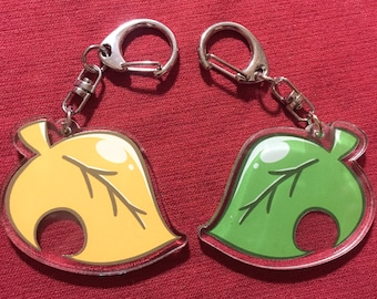 Reversible Double sided transparent Animal Crossing Leaf Keychain with lobster clasp