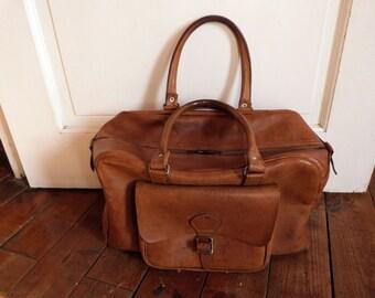Antique leather weekender bag bowling bag purse camel brown handbag luggage travel bag case French traveling bag, traveler bag overnight bag
