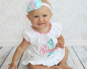 First Birthday Outfit Girl Baby Girl 1st Birthday Outfit 1st Birthday Girl Outfit Cake Smash Outfit Girl Pink Teal Personalized Birthday