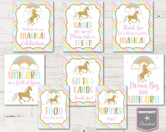 INSTANT DOWNLOAD Unicorn Birthday Party Sign Package / Birthday /Unicorn & Rainbows Collection / Item #3501