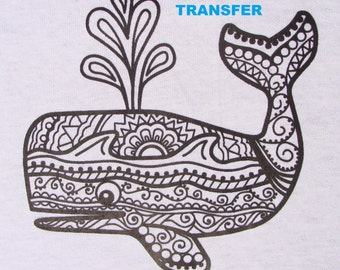 Whale TRANSFER Iron On Heat Press DIY for T shirts Totes Adult Coloring Page Zendoodle Color w Fabric Markers Waves & Sunset Party Favor