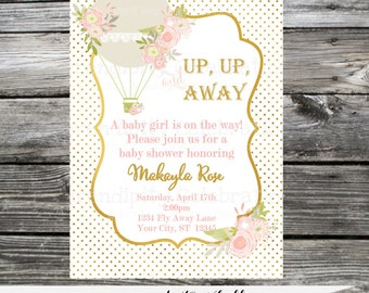 Baby Shower Hot Air Balloon Invitation, Bridal Shower Invite, Birthday Invitation, Up Up and Away,  Printed Invitation,  Gold, Pink