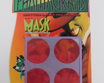 Polaroid Phantagram Hologram The Mask Jim Carey and Milo 3D Stickers Set of Four Round