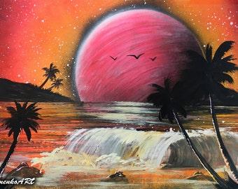 Spray paint art Sunset painting Sunrise painting Beach painting Palms art Summer gift Fantasy Summer painting Ocean wall art Wave painting