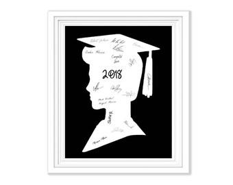 Graduation Guest Book Signature Alternative Boy Silhouette Memory Keepsake To Frame Wall Art Party Guestbook 2018 Graduation Decoration