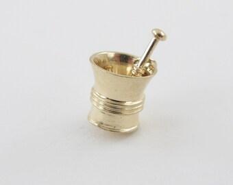 Vintage 14K Yellow Gold Mortar And Pestle Charm - Medicine Grinder Bowl Charm Pendant - Pharmacy Grinder Bowl