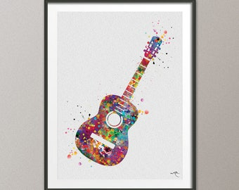 Acoustic Guitar Music Instrument Watercolor Print Classic Guitar Player Music Art Wall Decor Guitarist Gift Geekery Nerdy Wall Hanging-959