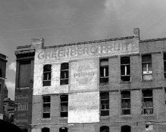 Pepsi Sign, Industrial Urban Photography Omaha Warehouse, Black and White Photography
