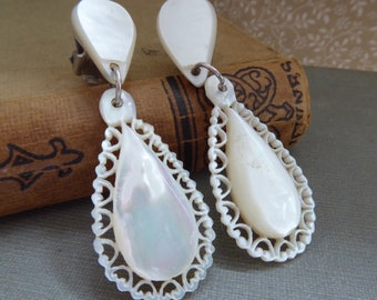 Vintage 1950s Carved Mother Of Pearl Drop Clip Earrings