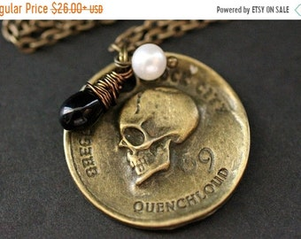 MOTHERS DAY SALE Pirate's Coin Necklace. Goth Necklace. Bronze Skull Necklace with Black Teardrop and Fresh Water Pearl. Halloween Jewelry.