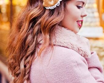 Gold Velvet Hair Bow, Velvet Hair Bow Clip, Fall Fashion Accessory